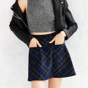 Urban Outfitters Navy Plaid A Line Skirt size 4